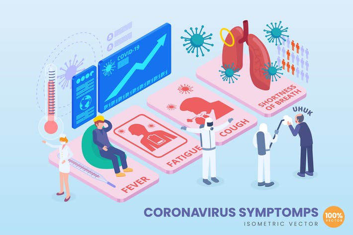 Thumbnail for Isometric Coronavirus Symptomps Vector Concept