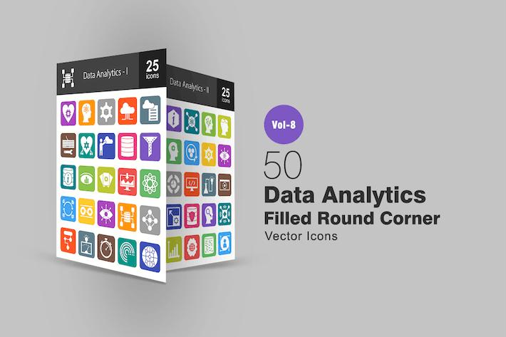 Thumbnail for 50 Data Analytics Filled Round Corner Icons