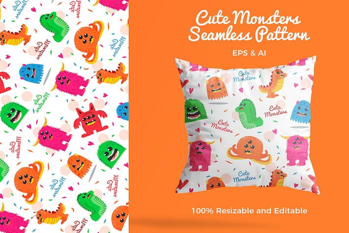 Thumbnail for Cute Monsters Pattern - Vector Illustration