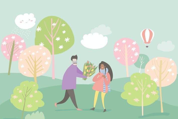 Cover Image For Cartoon happy couple in love in spring garden. Joy