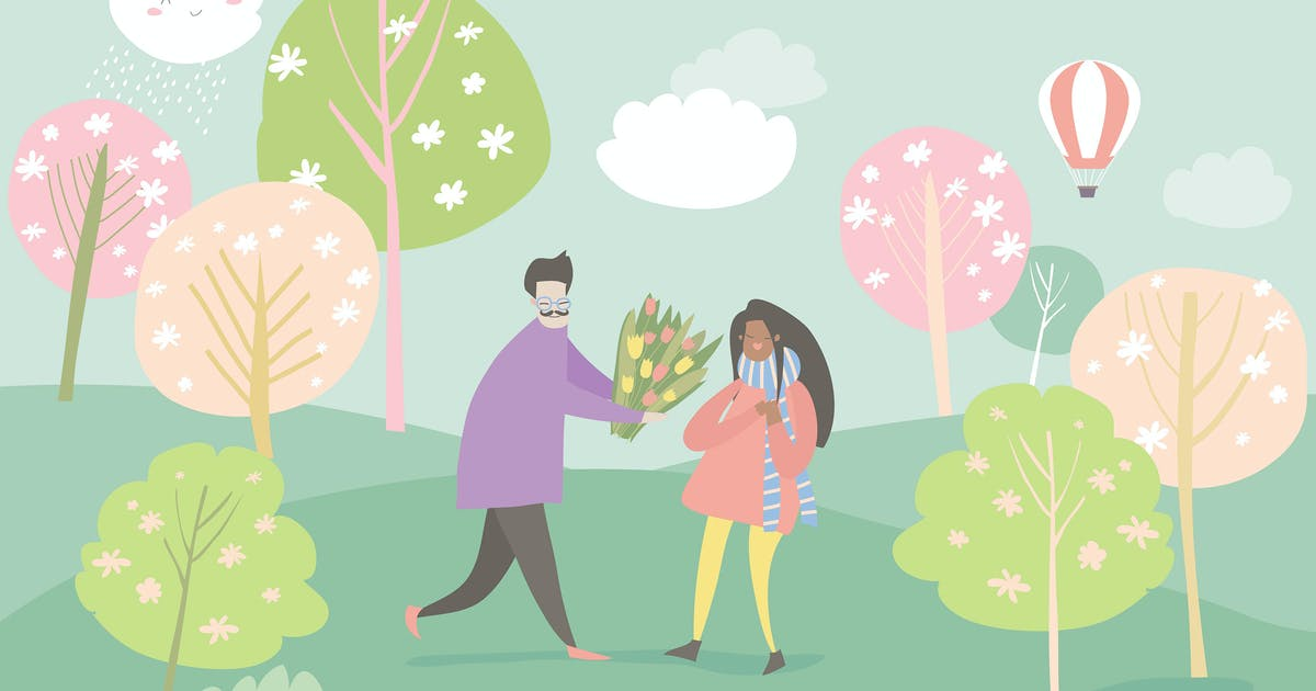 Download Cartoon happy couple in love in spring garden. Joy by masastarus