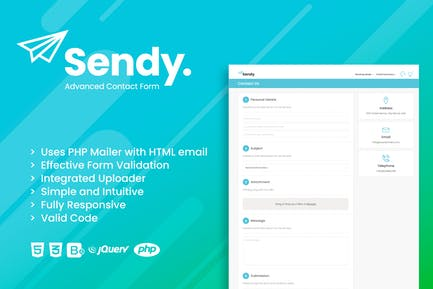 Sendy | Advanced Contact Form with File Uploader