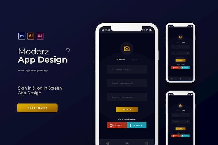 Thumbnail for Moderz Login & Anmelden | App Design Vorlage