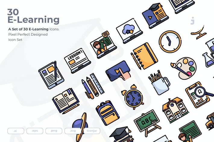 Thumbnail for 30 E-Learning and Education Icons