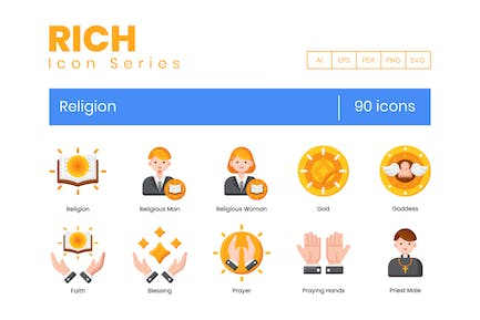 90 Religion Icons - Rich Series