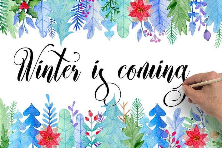 Thumbnail for Winter Watercolor Design Kit