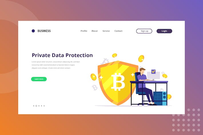 Private Data Protection Landing Page