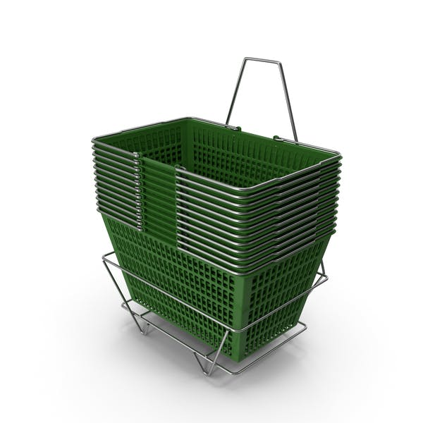 Set of 12 Green Shopping Baskets with Stand