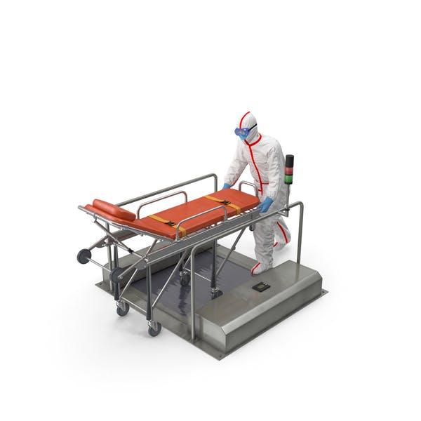 Schutzanzug mit Krankenhausbett Gurney auf automatischem Sohlenreiniger