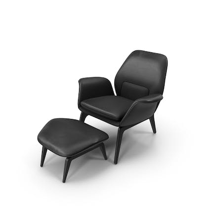Lounge Chair Black Leather