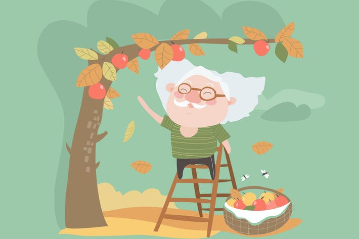 Thumbnail for Grandfather collects the harvest of apples. Vector
