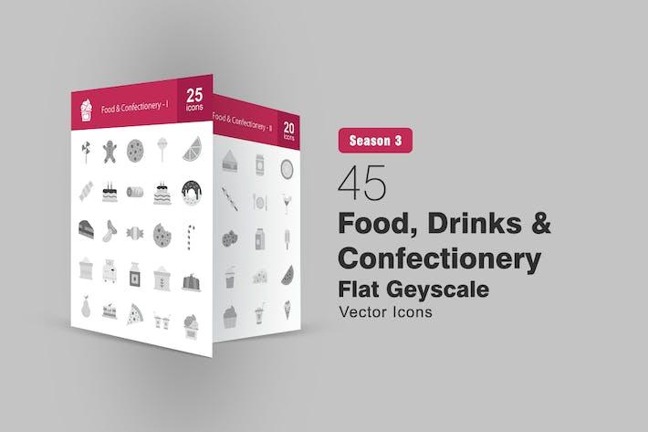 45 Lebensmittel, Getränke und Konditorei Graustufen-Symbole