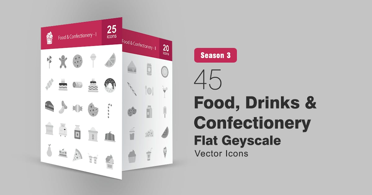 Download 45 Food, Drinks & Confectionery Greyscale Icons by IconBunny