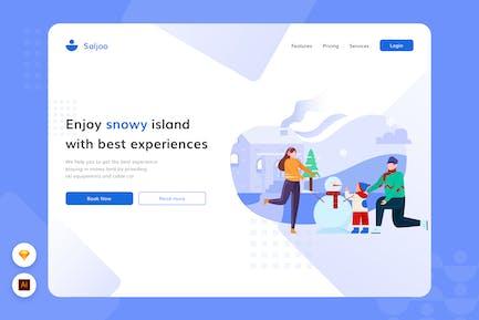 Schneebedeckte Insel - Website Header Illustration