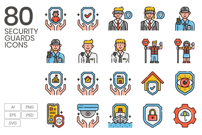 80 Security Guard Icons - Aesthetics Series