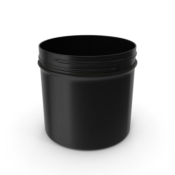 Black Plastic Jar Wide Mouth Straight Sided 12oz Without Cap