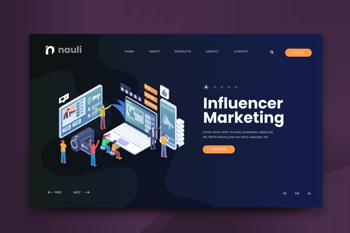 Thumbnail for Isometric Influencer Marketing Web PSD and AI
