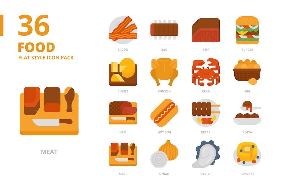 Lebensmittel Flach Stil Icon Set