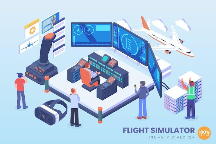 Вектор технологии изометрического моделирования полета