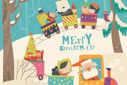 Tren de Navidad alegre con Papá Noel, niños y
