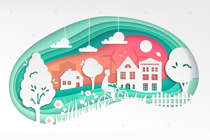 Thumbnail for Country landscape - vector paper cut illustration