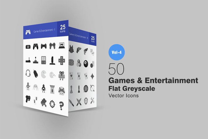 Thumbnail for 50 Games & Entertainment Greyscale Icons