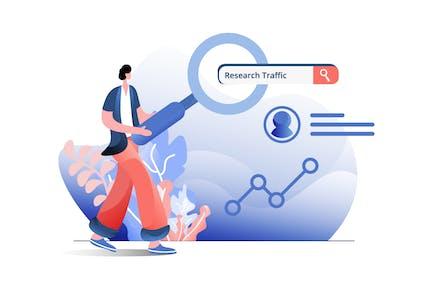 Negocio de tráfico de investigación
