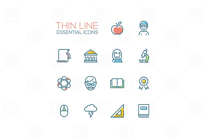 Thumbnail for Education - Thin Single Line Icons Set