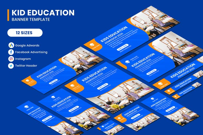 Thumbnail for Kid Education Google Adwords Banner Template