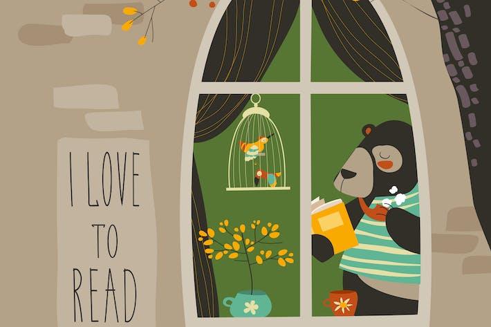 Thumbnail for Bear reading a book near the window