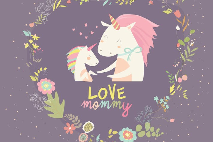 Thumbnail for Cute Small Unicorn with Mom. Vector Illustration.