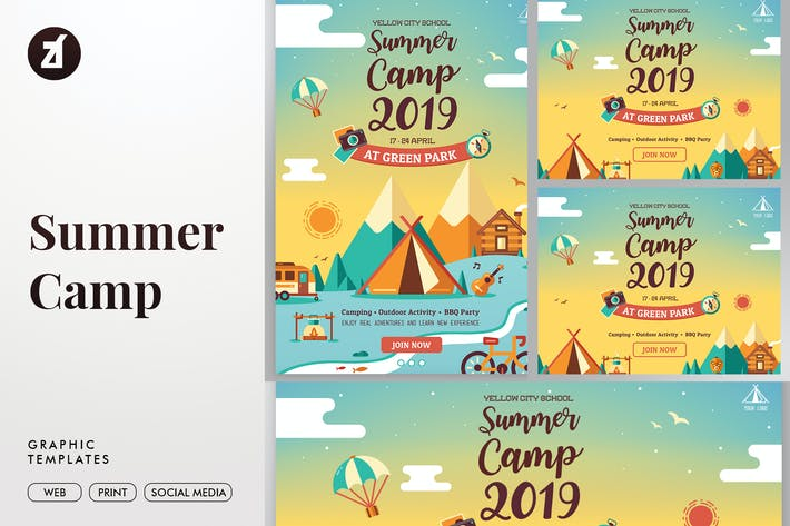 Thumbnail for Summer camp graphic templates