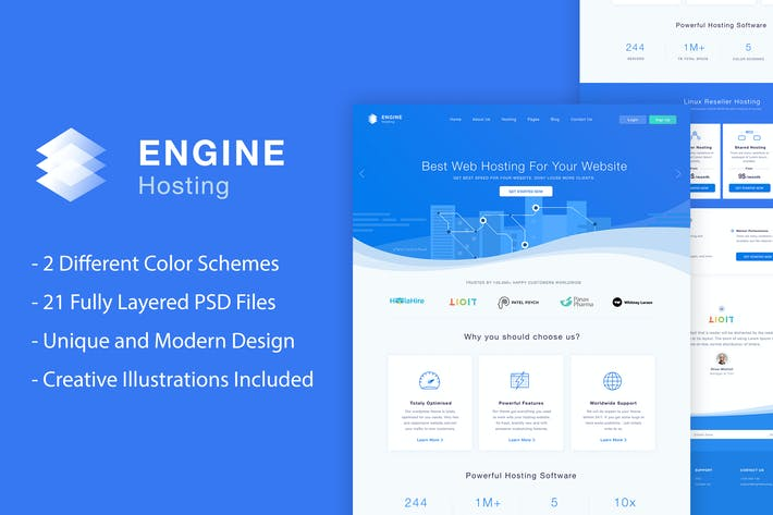 Thumbnail for Engine Hosting - PSD Template