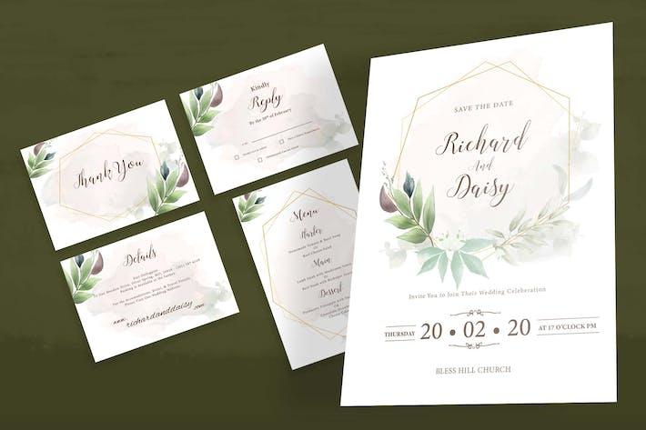 Thumbnail for Watercolor Botanical Wedding Invitation Set