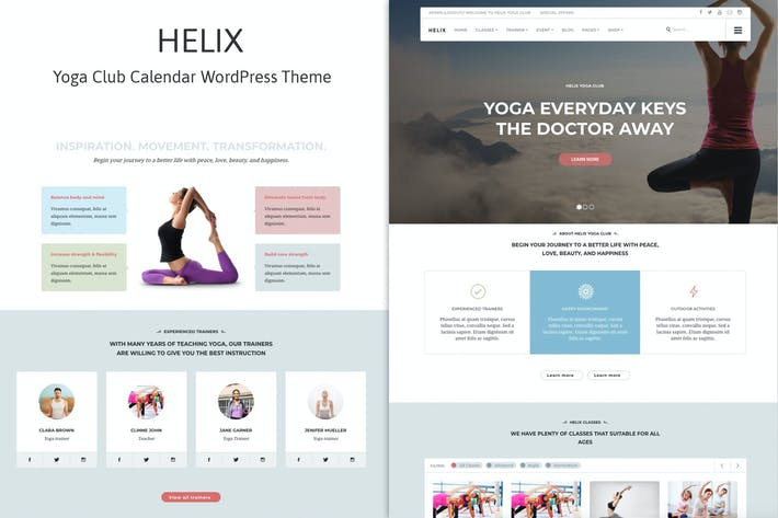 Thumbnail for Helix - Yoga Club Calendar WordPress Theme