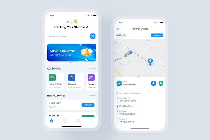 Konzept der mobilen App zur Paketverfolgung