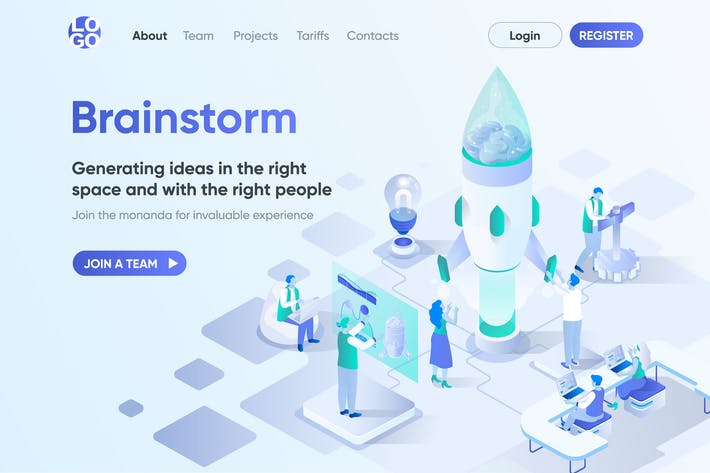 Thumbnail for Brainstorming Isometric Concept Landing Page