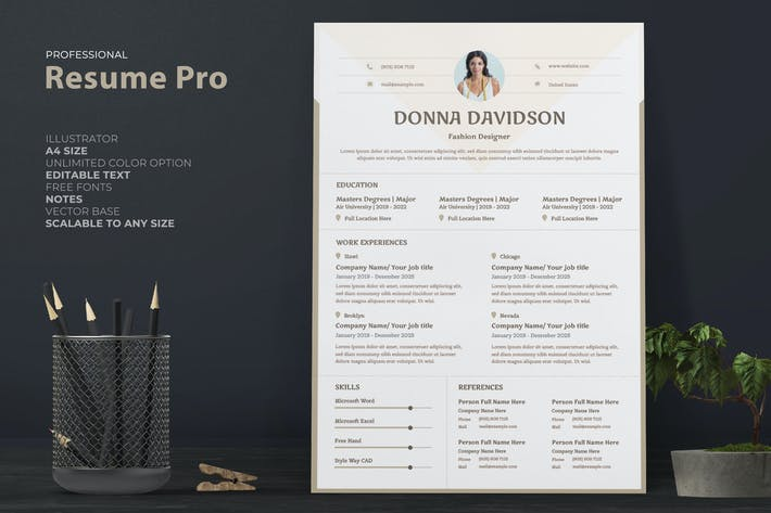 Thumbnail for Professional Resume / CV Template