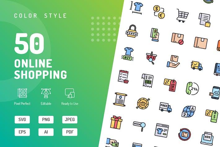 Online-Einkaufs-FarbIcons