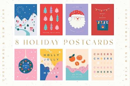 Happy Holidays Greetings Card Set
