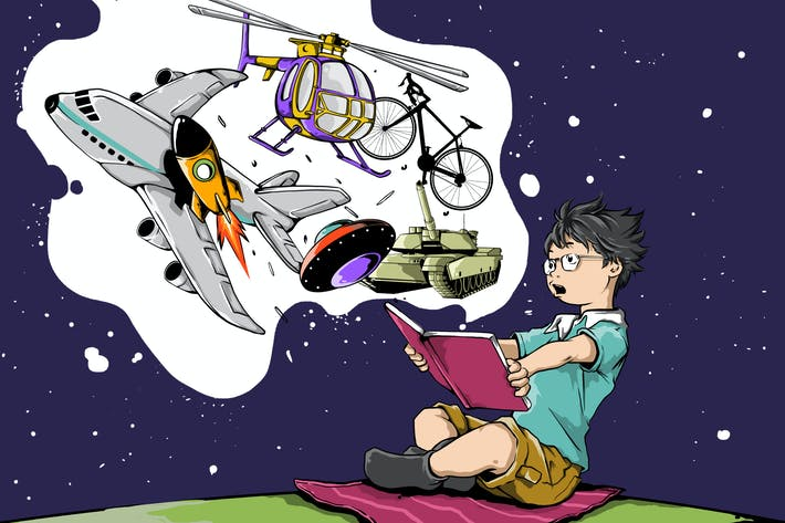 Boy reading with imagination