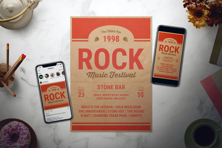 Rock Music Flyer Set