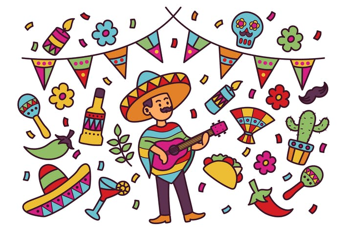 Cinco De Mayo Doodle Illustration