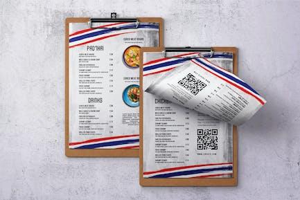 Thai Cuisine Single Page A4 & US Letter Food Menu