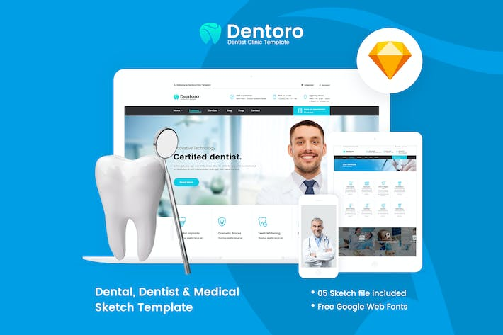 Thumbnail for Dentoro - Dental, Dentist ,Medical Sketch Template