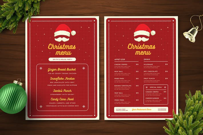 Christmas menu with Santa Hat and Moustache - Red Theme