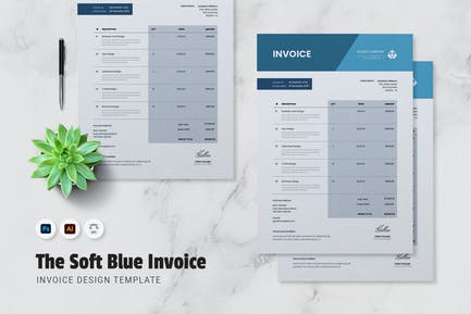Soft Blue Invoice