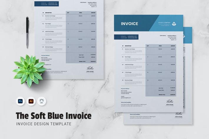 Thumbnail for Soft Blue Invoice