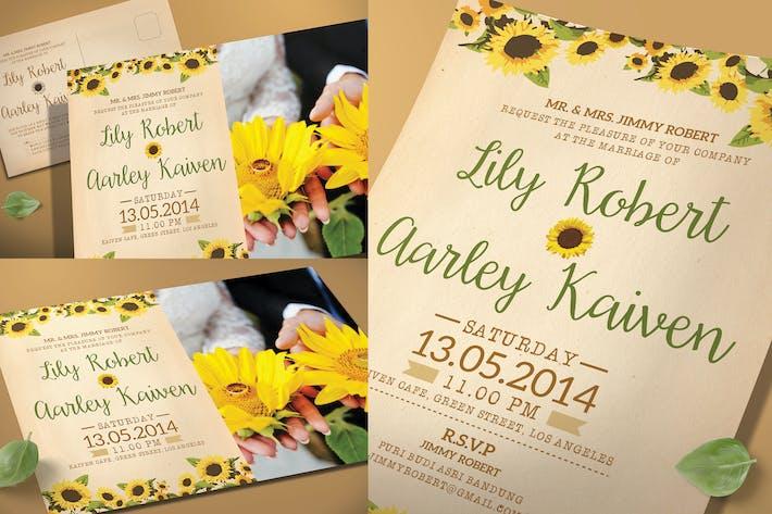 Thumbnail for Sunflower Hochzeit Einladungs- & Postkarte