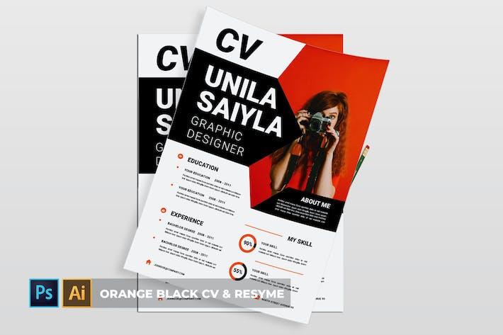Thumbnail for Orange Black   CV & Resume